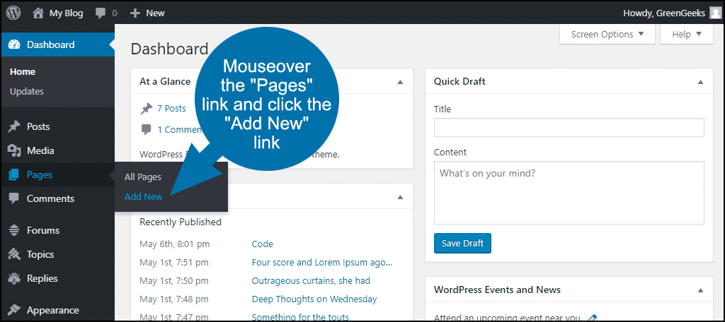 "mouseover the ""Pages"" link and click the ""Add New"" link"