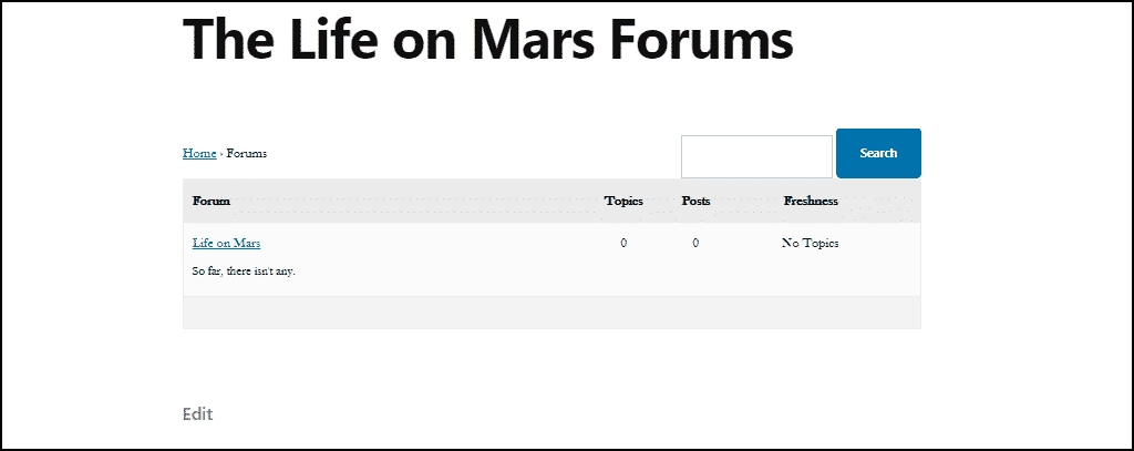 a menu link to the forum page