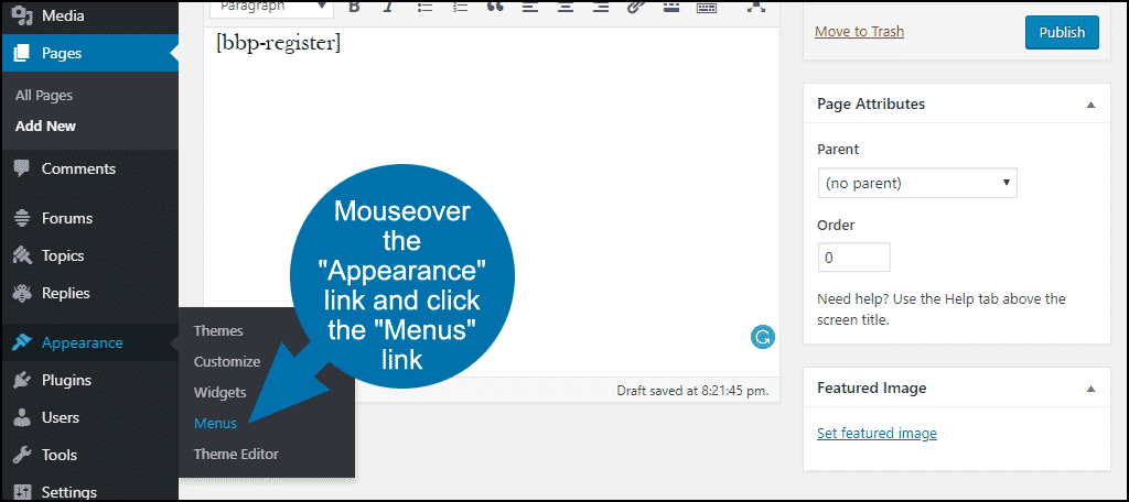 "mouseover the ""Appearance"" link and click the ""Menus"" link"