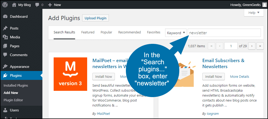 """in the """"Search plugins..."""" box, enter """"newsletter"""""""