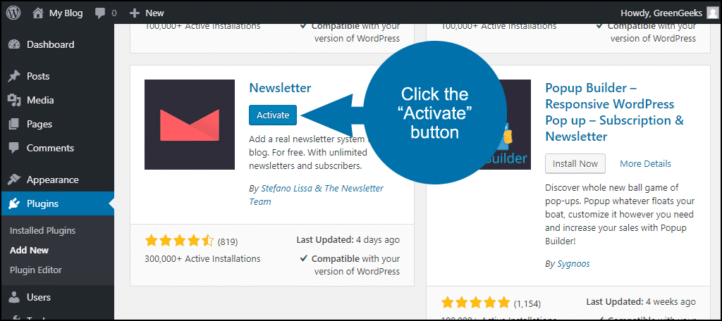 "click the ""Activate"" button"