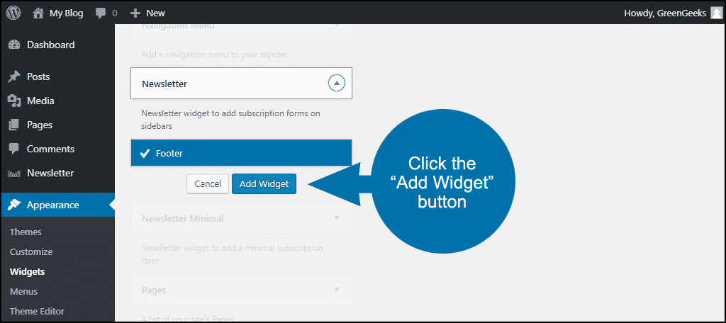 "click the ""Add Widget"" button"