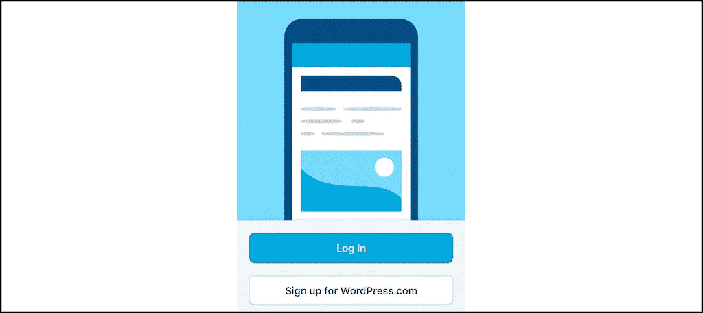 Wordpress app login screen
