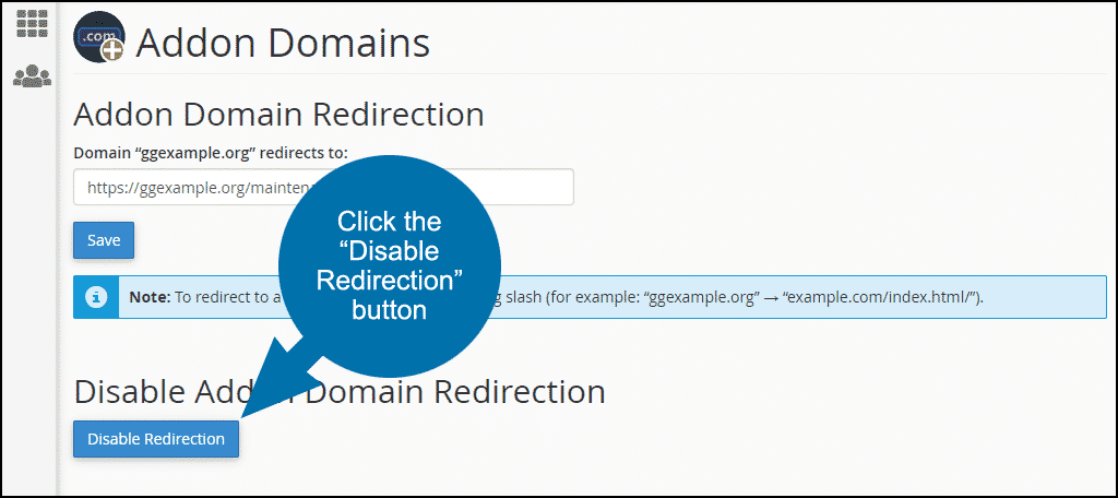 "click the ""Disable Redirection"" button"
