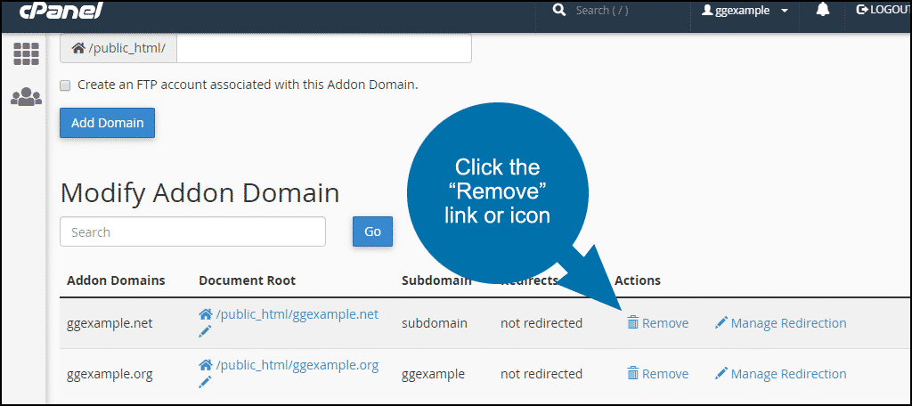 "click the ""Remove"" link for the Addon domain"