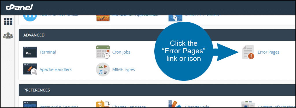 create a custom error page in cPanel