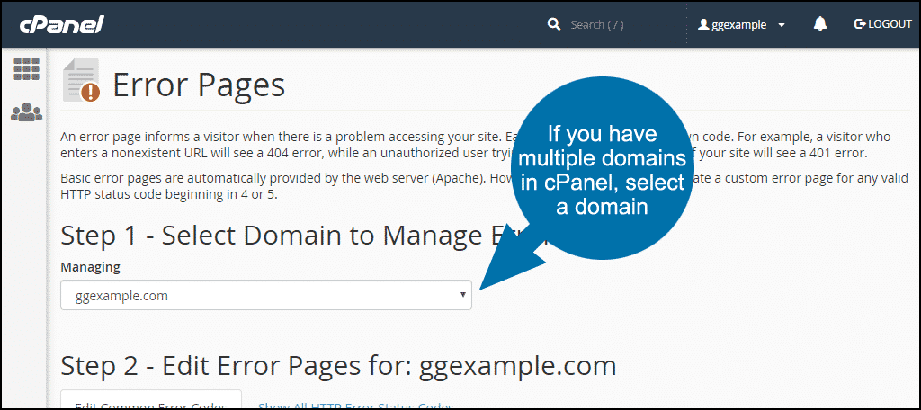 select the domain for which you will add a custom error page