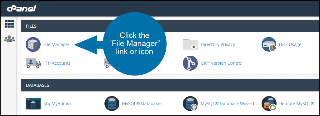 locating the cPanel file manager