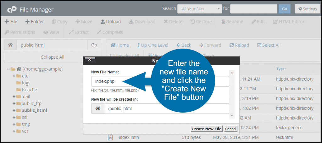 "click the ""Create New File"" button"