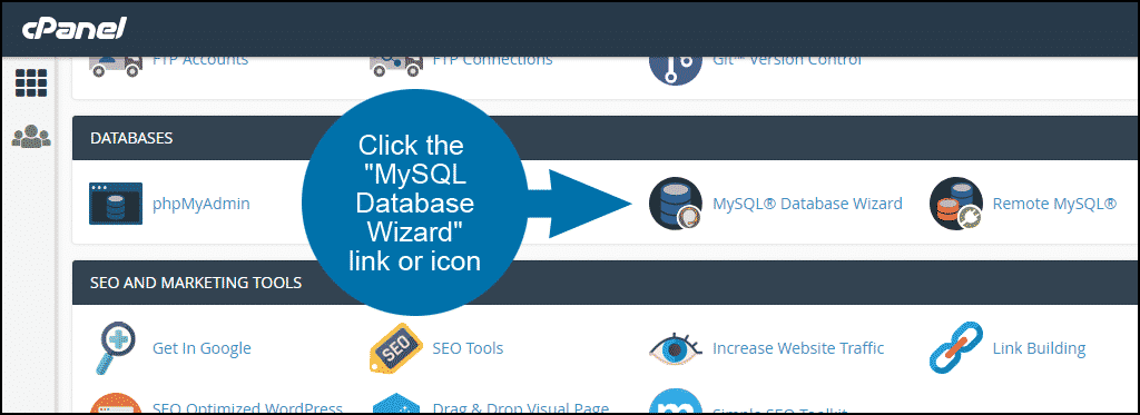 how to set up a new MySQL database and user in cPanel