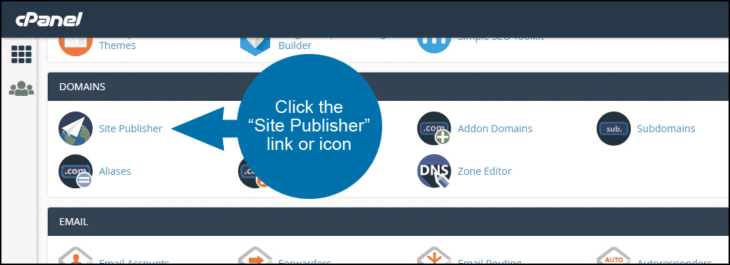 """click the """"Site Publisher"""" link or icon"""