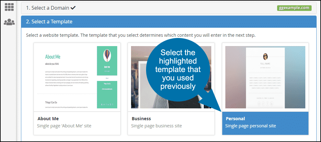 select the highlighted template that you used previously
