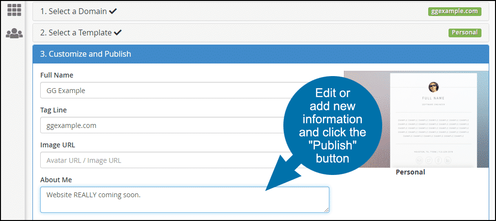 """add new information and click the """"Publish"""" button"""