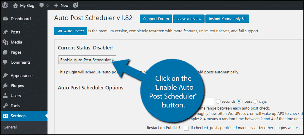 Enable Auto Post Scheduler