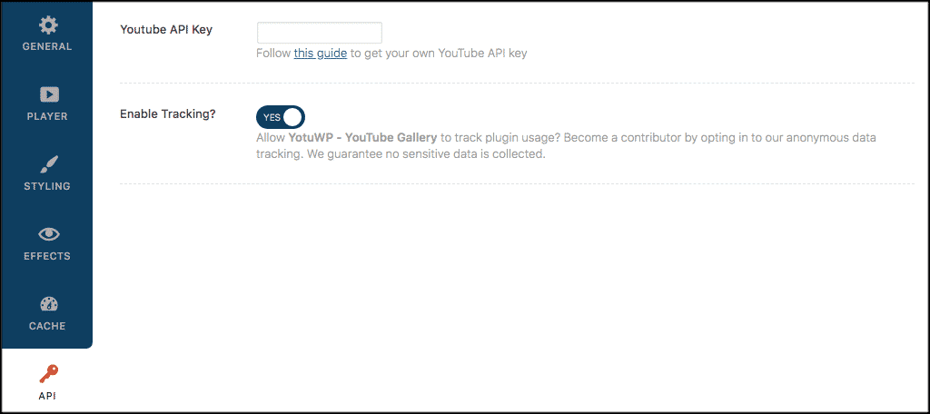 API settings for youtube gallery wordpress