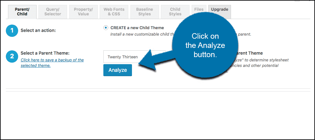 Click analyze button
