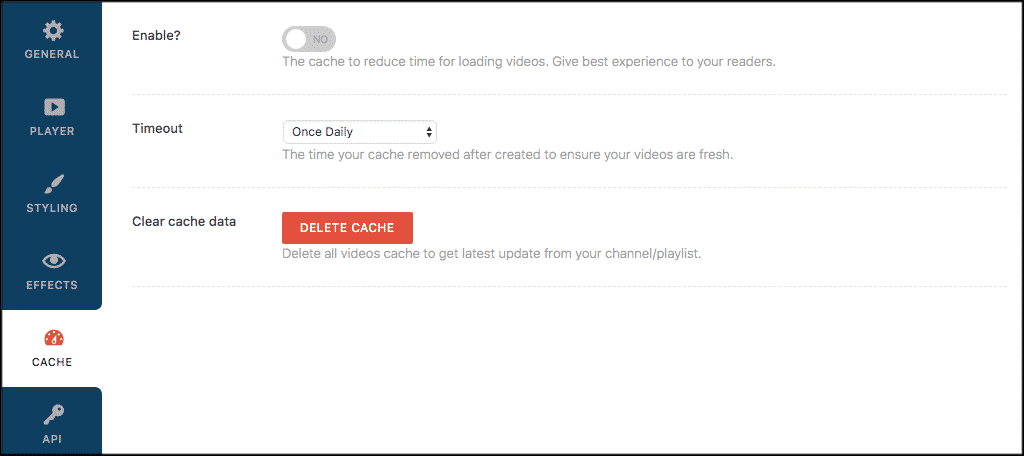 Cache settings