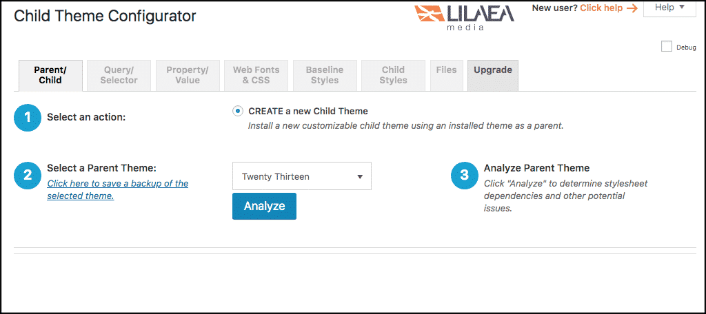 Child theme WordPress plugin page