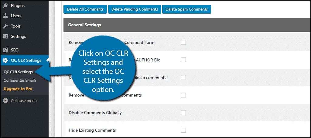 QC CLR Settings