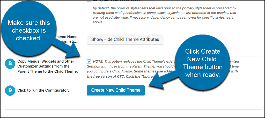 Create new wordpress child theme button