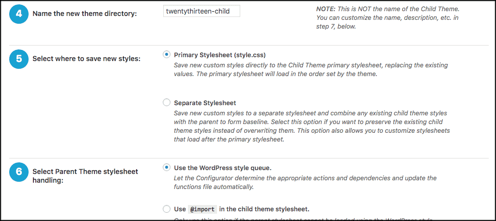 More wordpress child theme settings