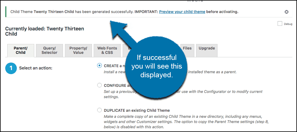 Successful child theme generated