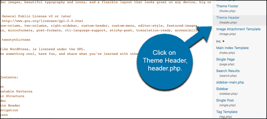 Click on the header.php file