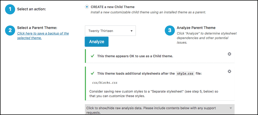 Child theme wordpress plugin settings are good