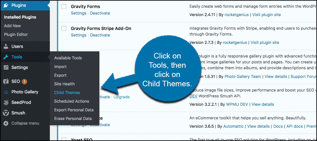 Click tools then child themes