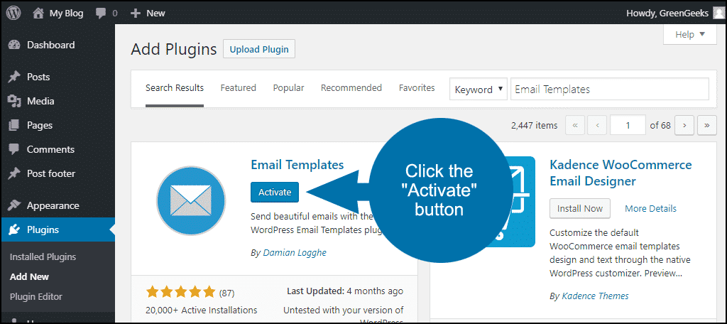 click to activate the WordPress Email Templates plugin