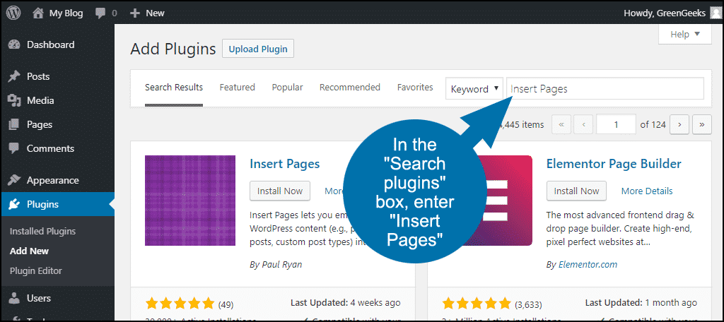 search for the WordPress Insert Pages plugin