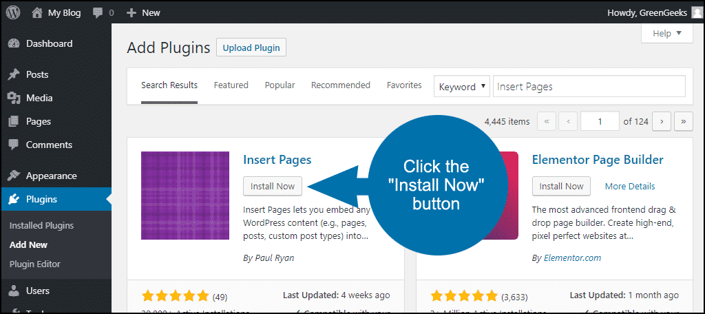 click to install the WordPress Insert Pages plugin
