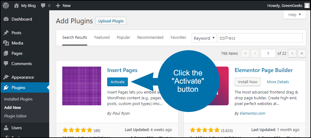 click to activate the WordPress Insert Pages plugin