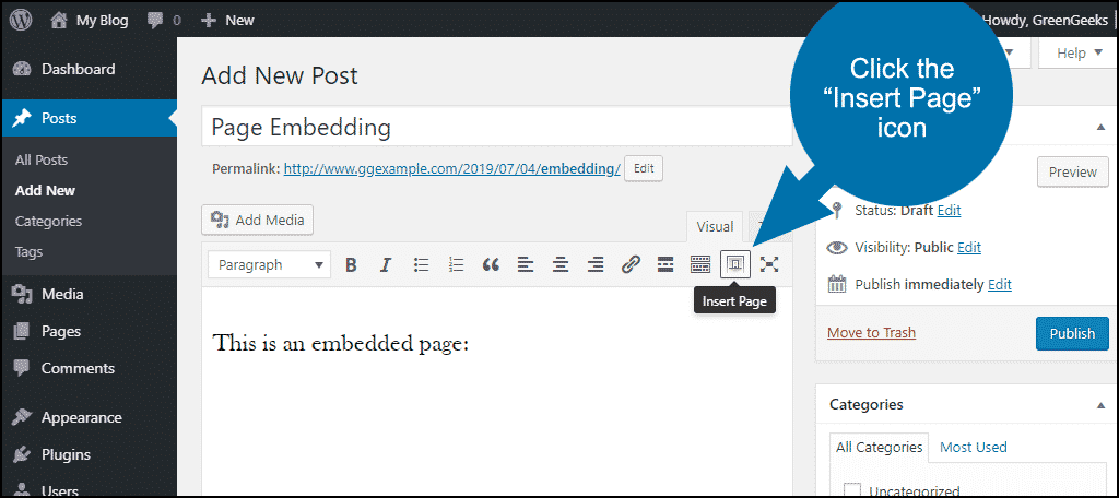 click to insert a page into your post