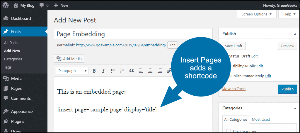 Insert Pages adds a shortcode to the post