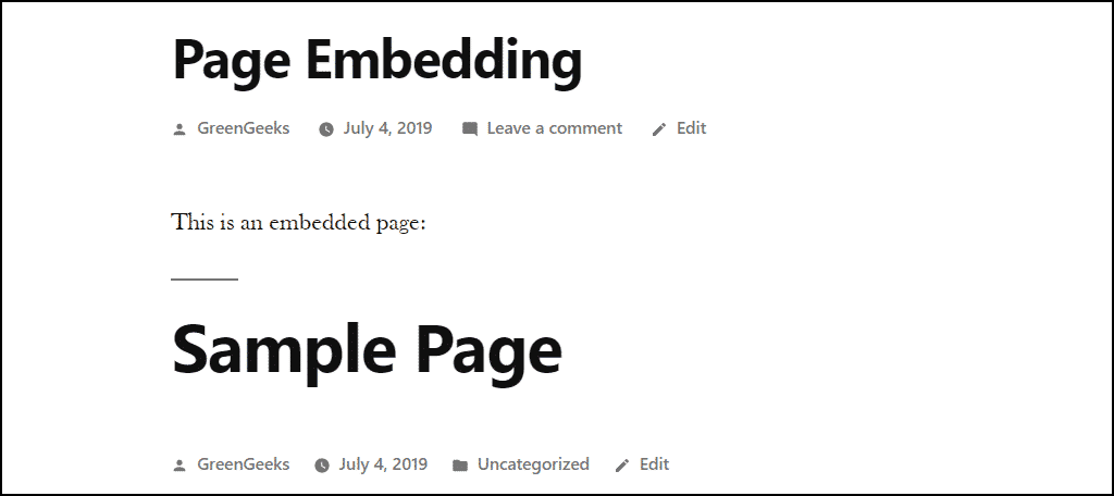 the title of the embedded page is displayed