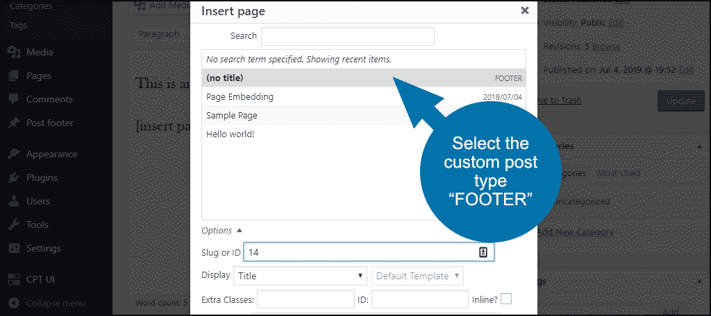 select the custom post type FOOTER