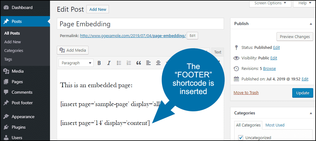 the FOOTER shortcode is inserted