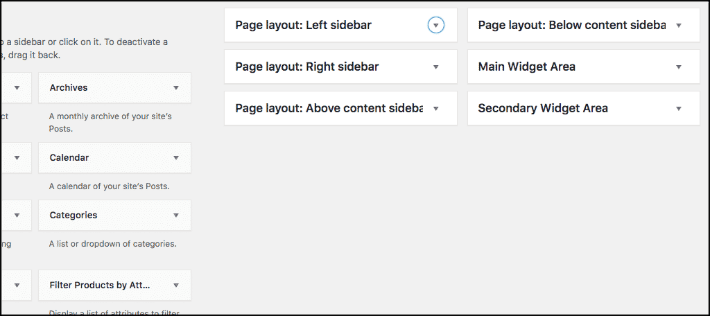 WordPress custom page templates widget areas
