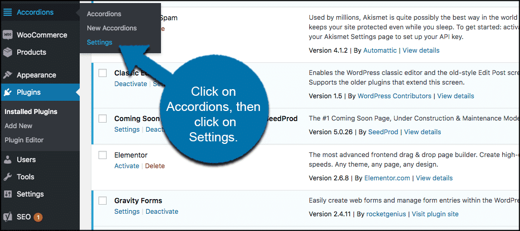 WordPress accordion plugin settings