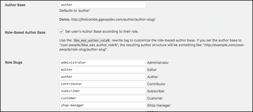Author base settings page
