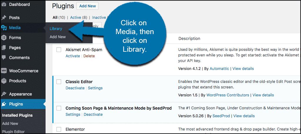 Click media then click library