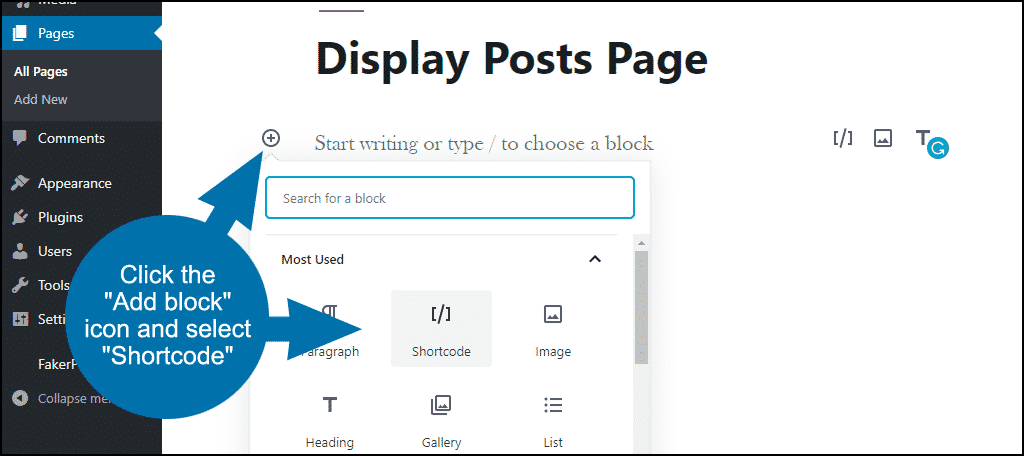 """click """"Add block"""" and select """"Shortcode"""""""