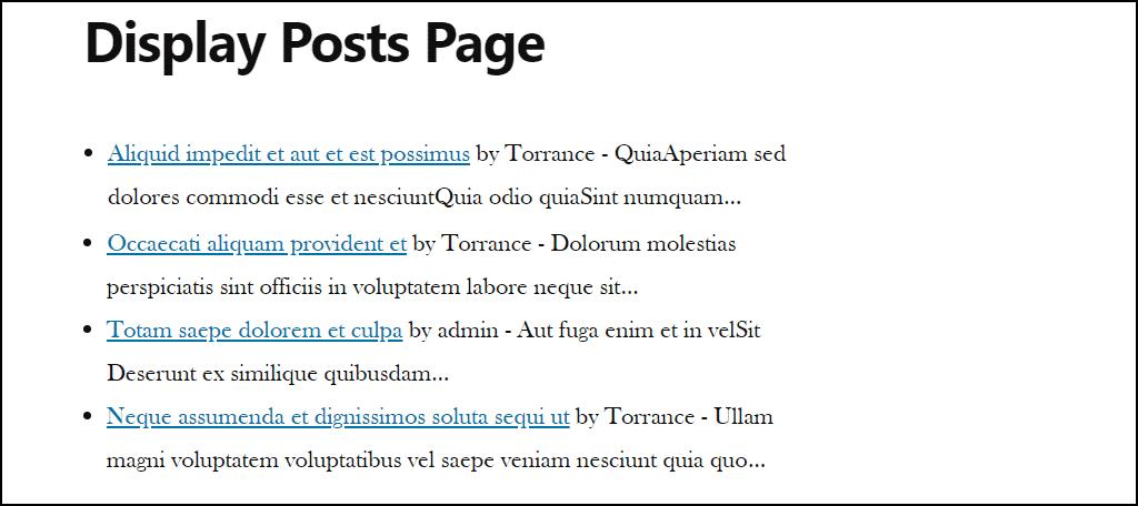 display posts with excerpt
