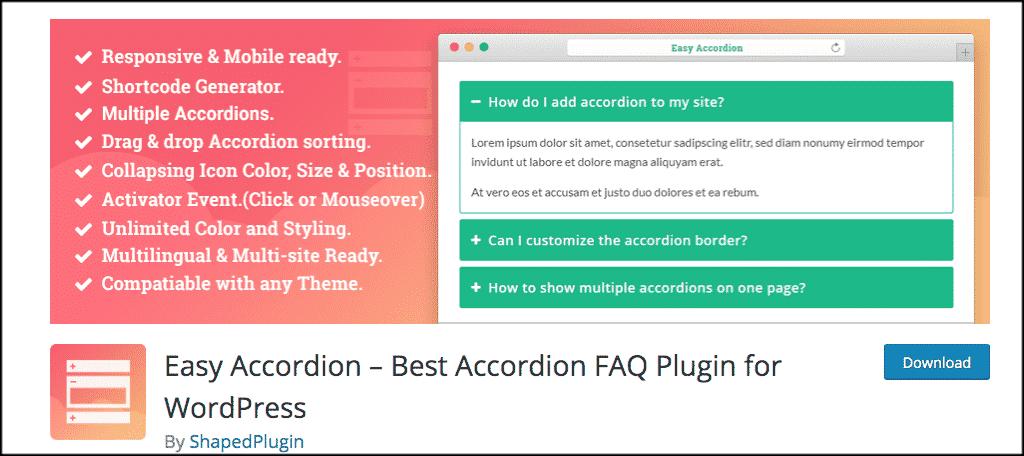 Easy accordion wordpress plugin