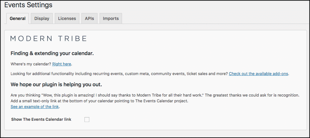 Wordpress events settings page