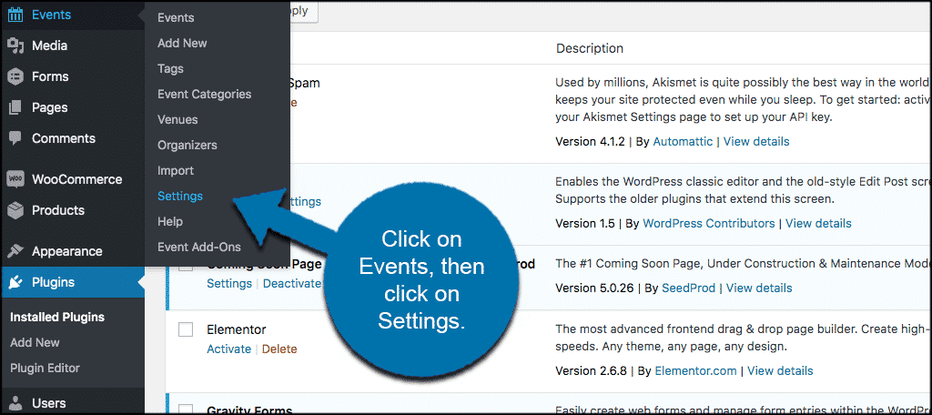 Click events then settings
