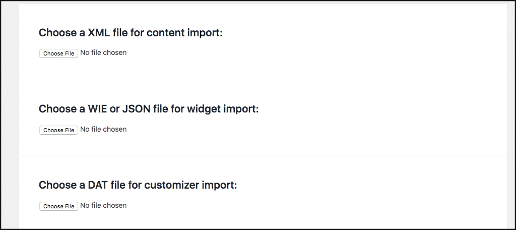 File types for wordpress demo content