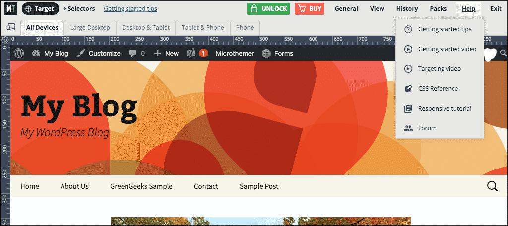 Help tab for customizing a wordpress theme