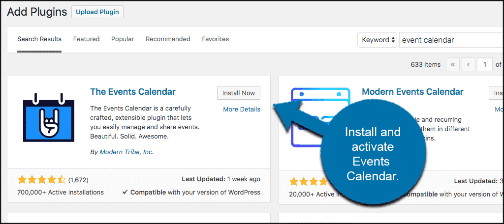 Install and activate wordpress events calendar